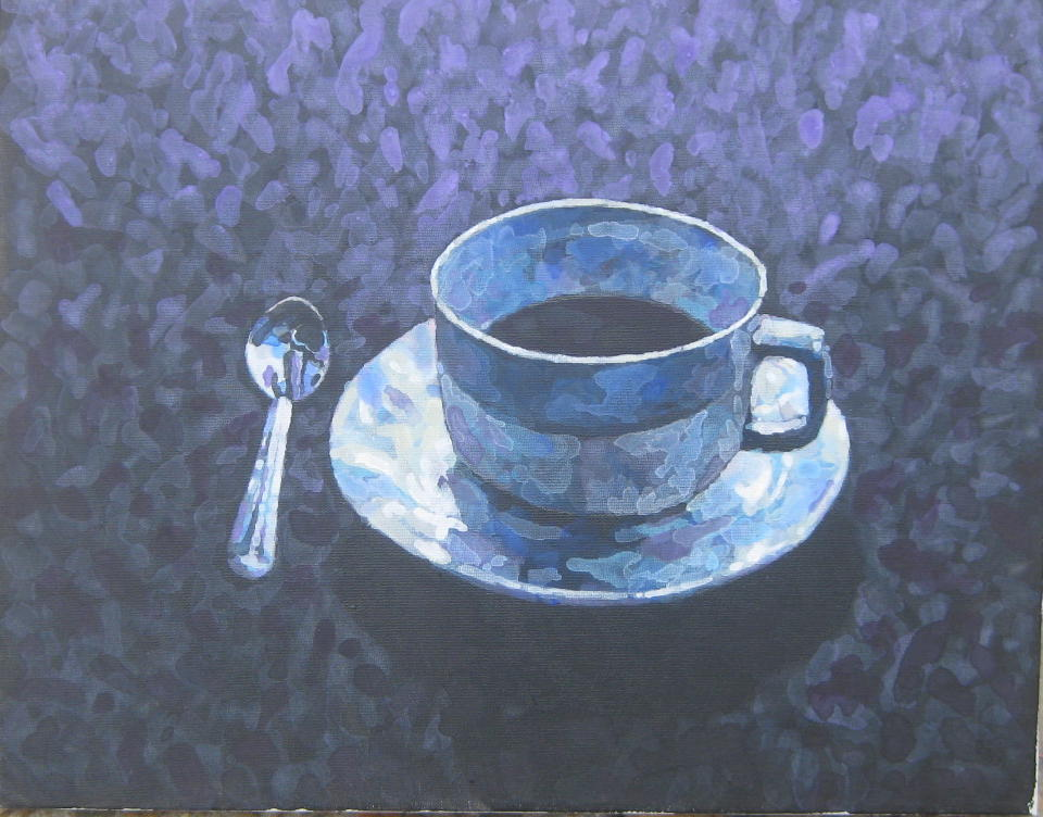 Coffee cup in a blue hue