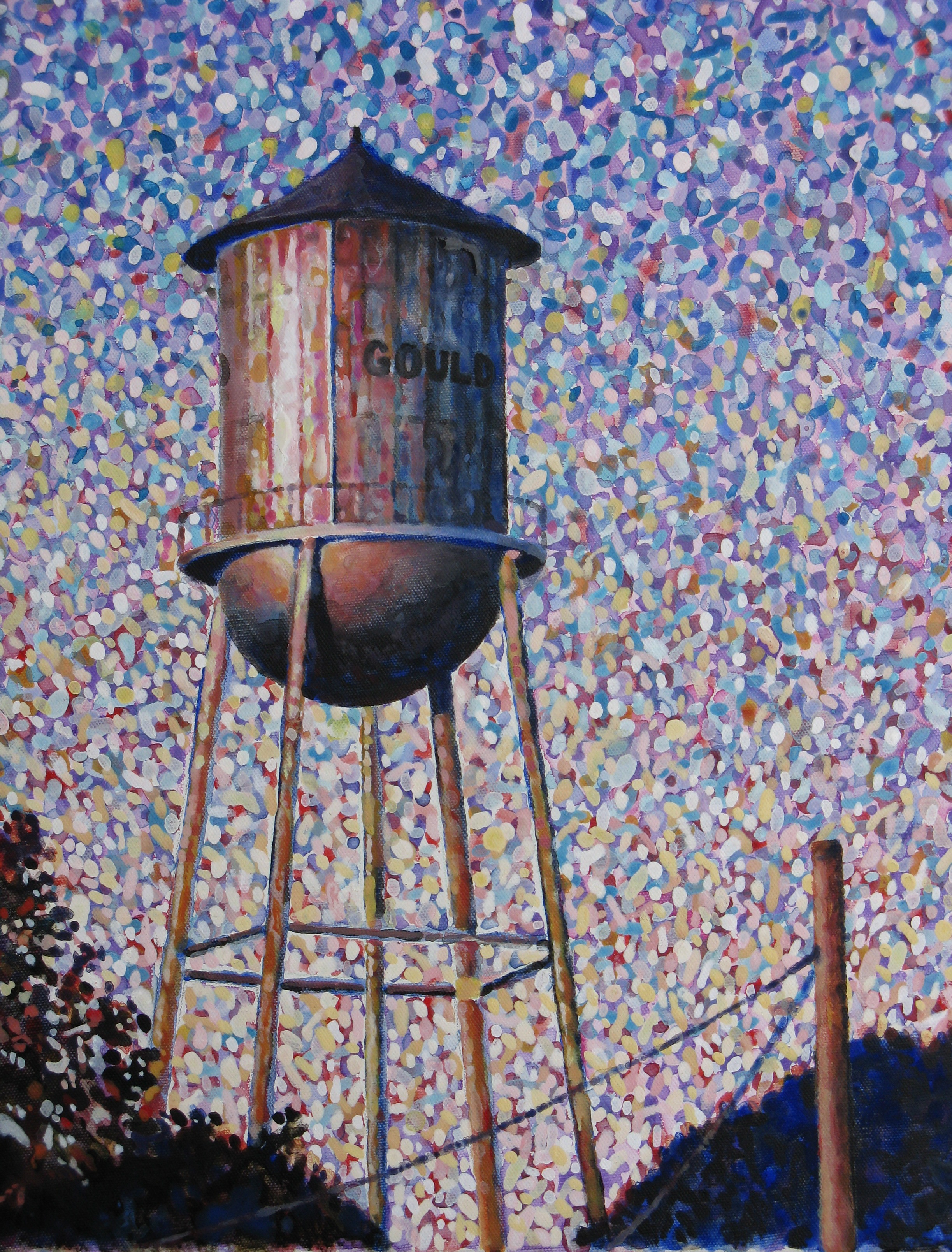 The water tower in Gould, AR in afternoon sun