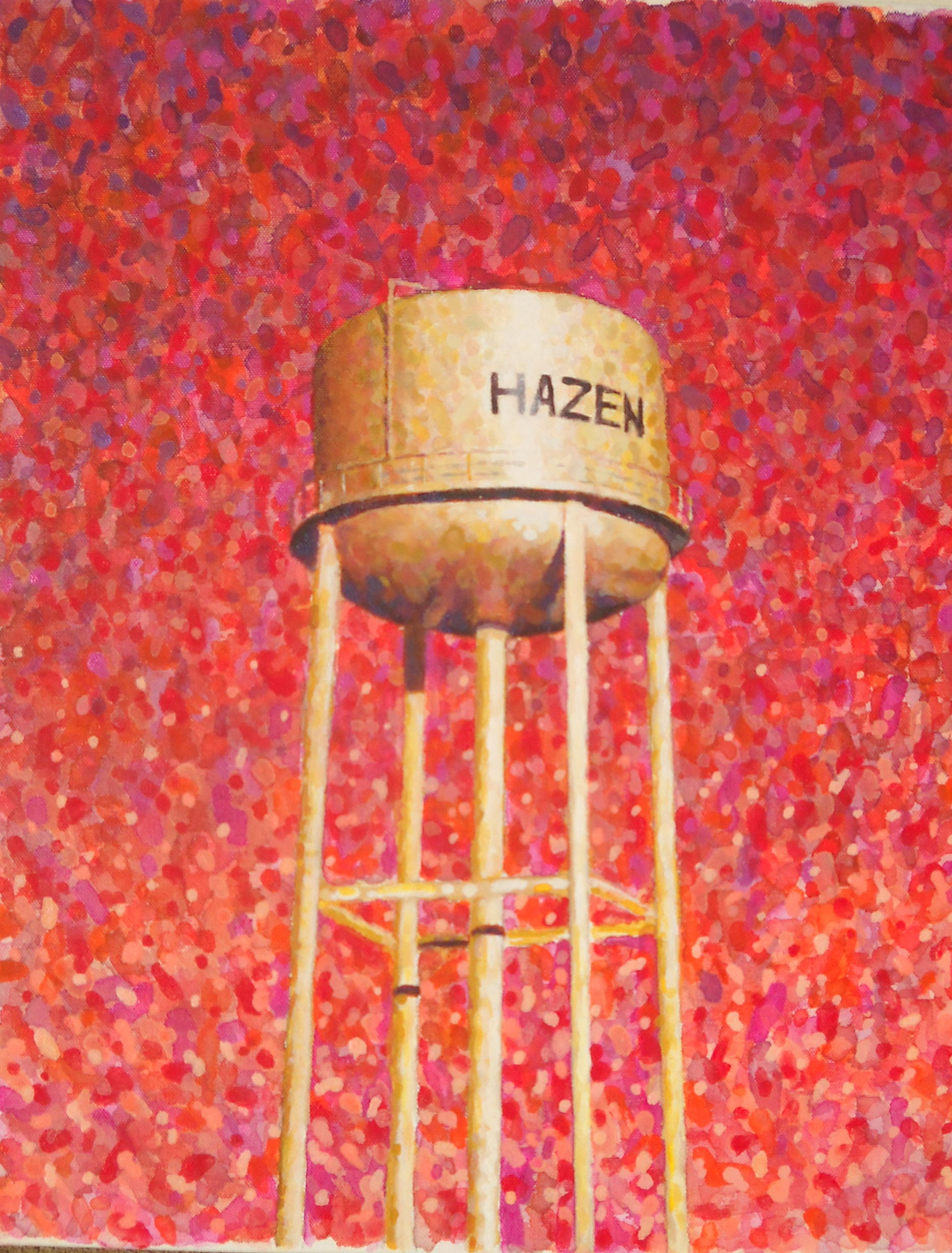 A different colorful version of the Hazen water tower
