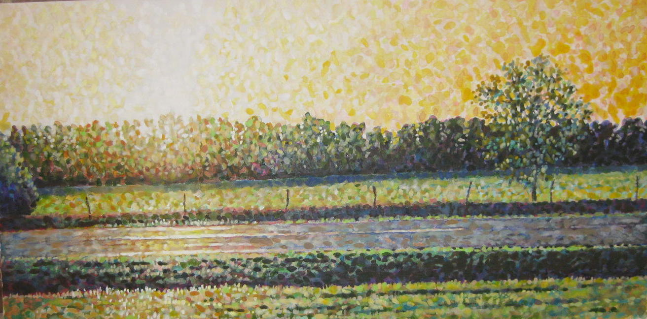 36 x 18 - A depiction of the heat of a Texas summer while driving to Dallas. Acrylic on canvass, 2011
