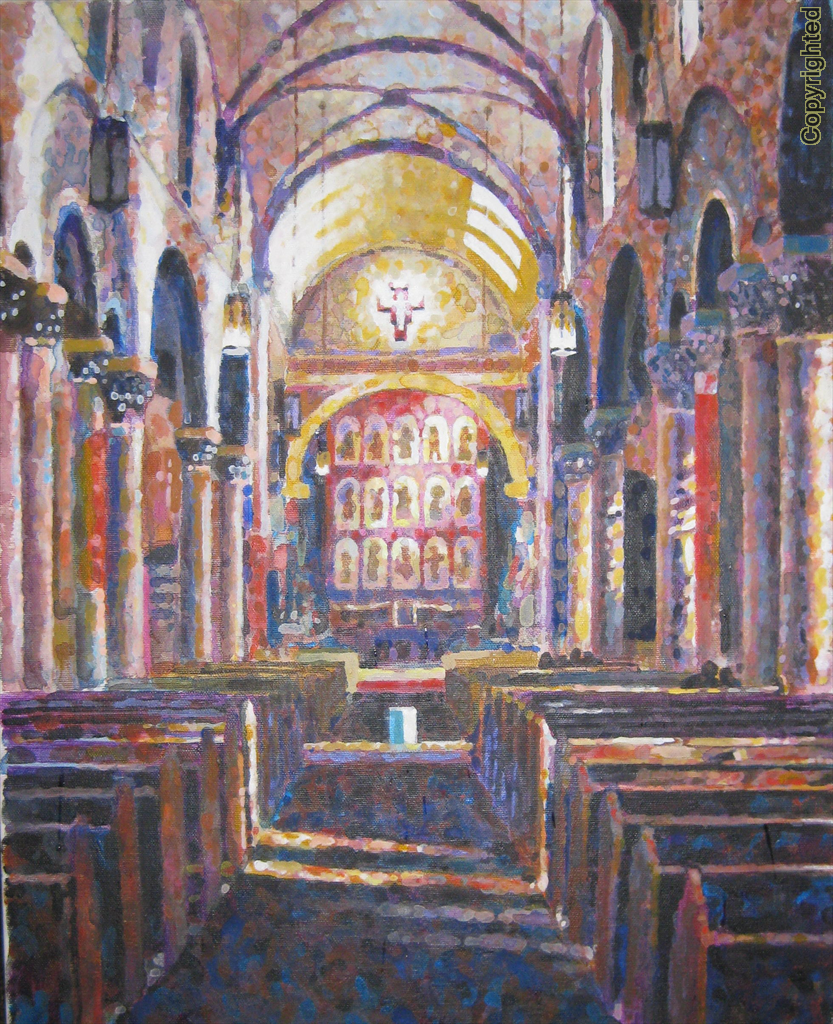 One of the oldest church sites in North America (1626), this Basilica was built on that site in downtown Santa Fe, NM in 1871.  Gift for a friend