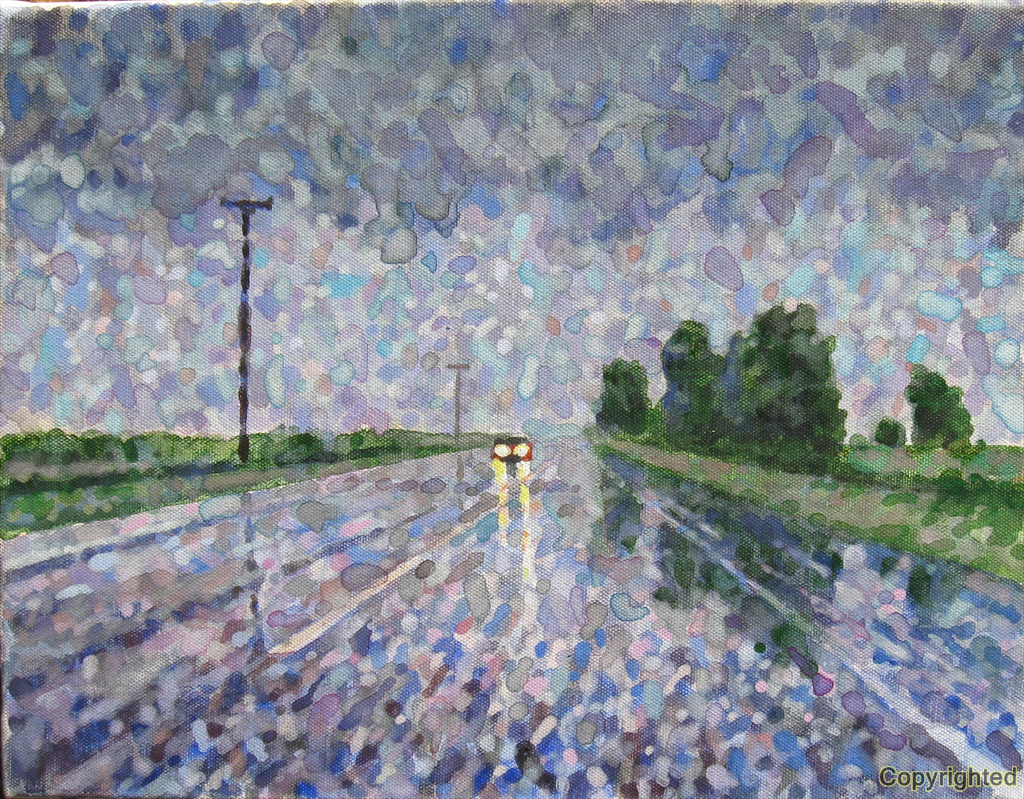 Highway 79 in east Arkansas during a mid day summer rain.  My first attempt at painting wet pavement.