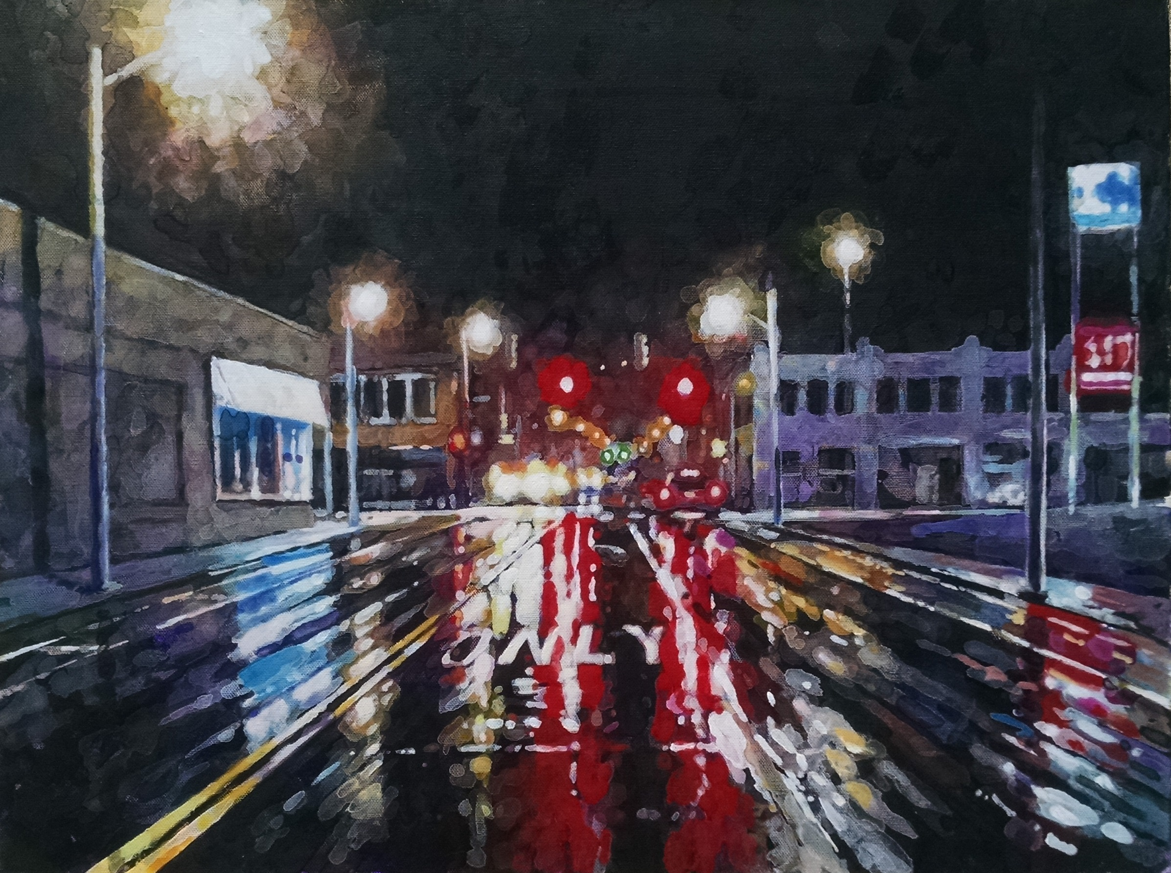 A rainy night in downtown Memphis