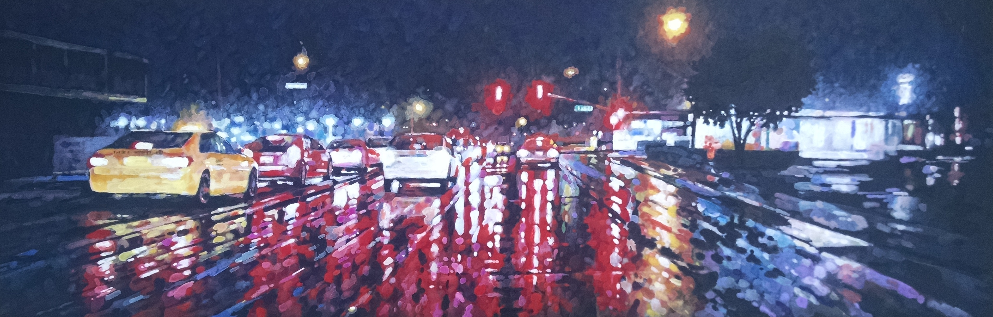 traffic on a wet night in Poway, CA